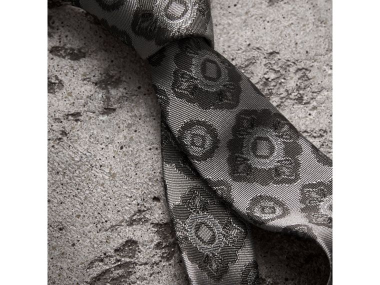 Slim Cut Tiled Floral Silk Jacquard Tie in Pale Grey - Men | Burberry Australia - cell image 1