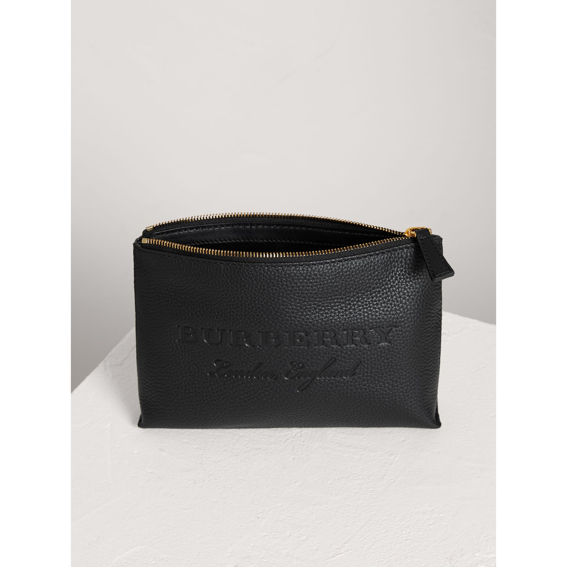 Medium Embossed Leather Zip Pouch in Black | Burberry United States - gallery image 3