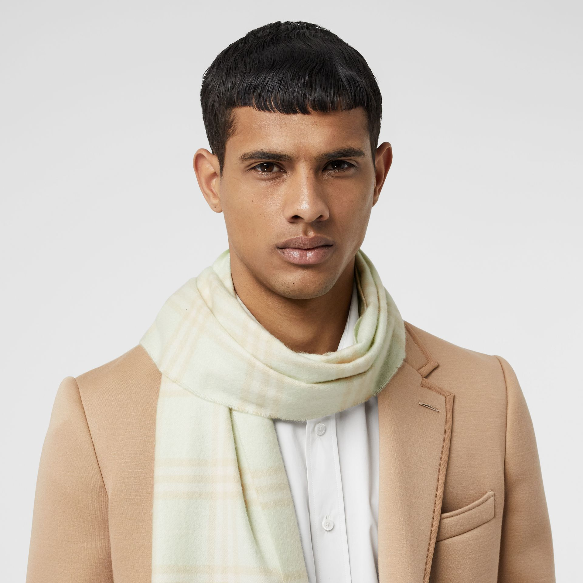 The Classic Vintage Check Cashmere Scarf in Pistachio | Burberry Singapore - gallery image 3