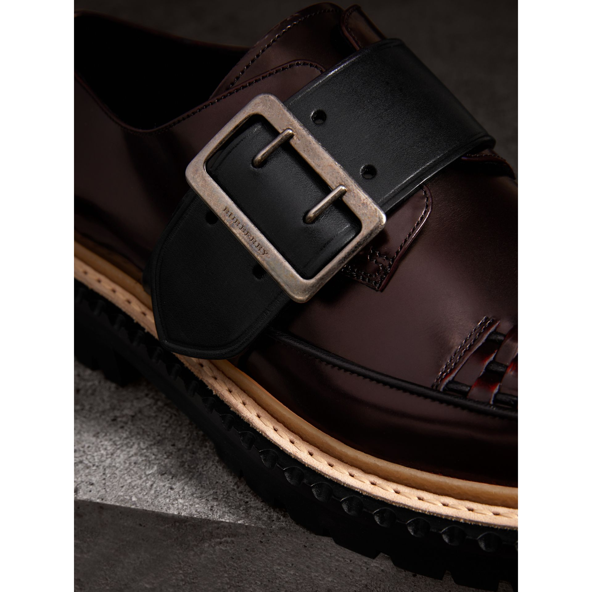 Woven-toe Leather Shoes in Bordeaux - Women | Burberry Singapore - gallery image 1