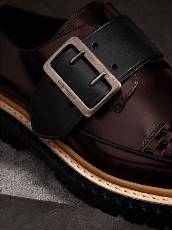 Woven-toe Leather Shoes in Bordeaux - Women | Burberry United Kingdom - cell image 1