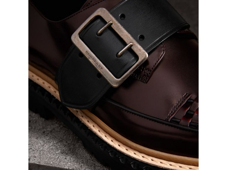 Woven-toe Leather Shoes in Bordeaux - Women | Burberry - cell image 1