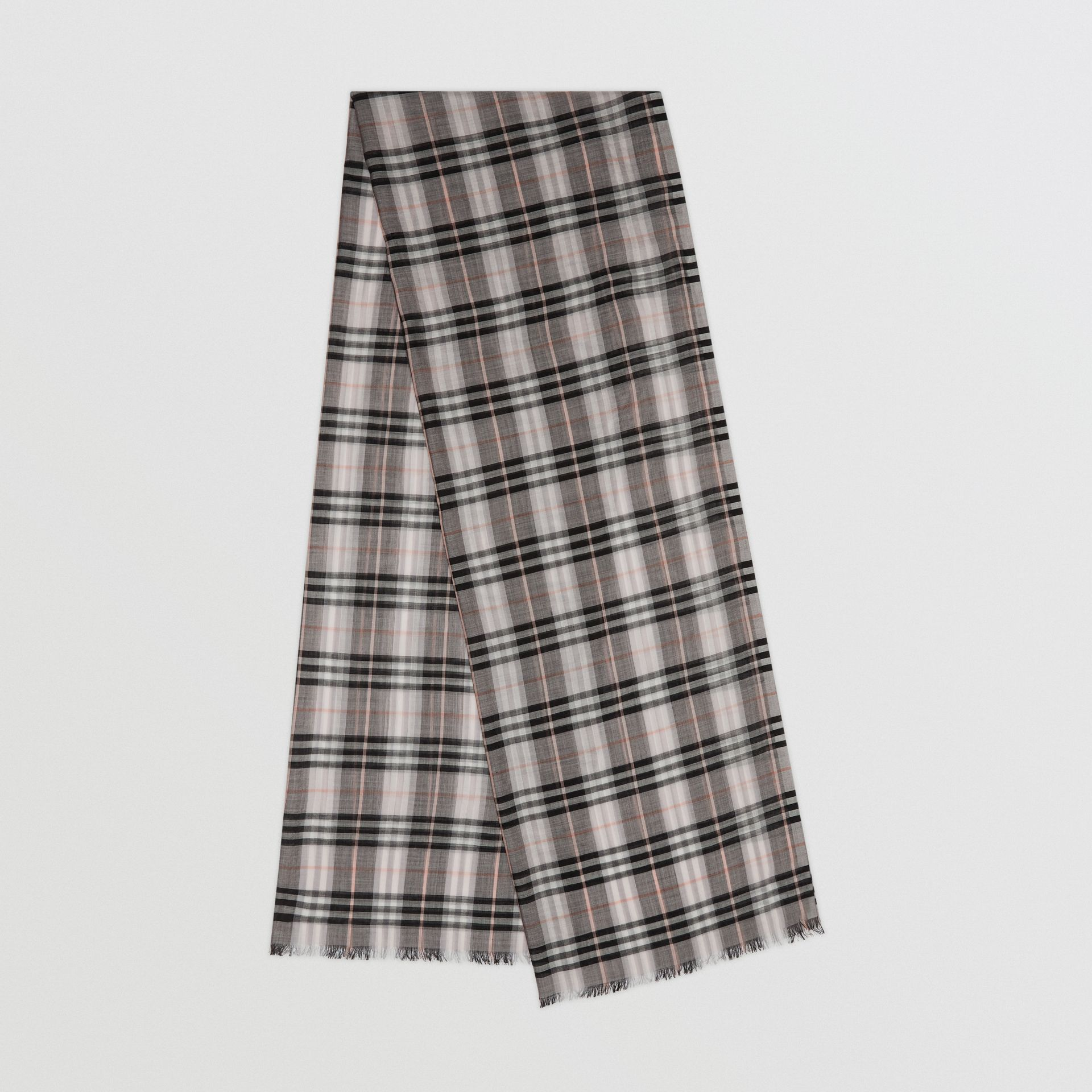 Vintage Check Lightweight Wool Silk Scarf in Apricot | Burberry Australia - gallery image 0