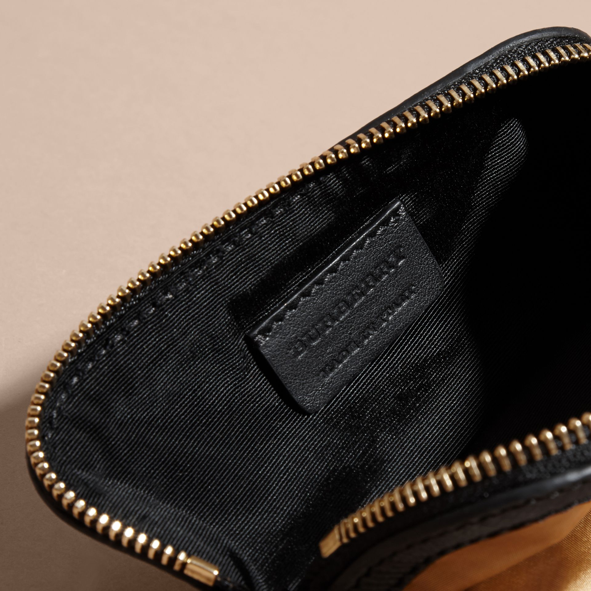 Gold/black Small Zip-top Leather-trimmed Technical Nylon Pouch - gallery image 4