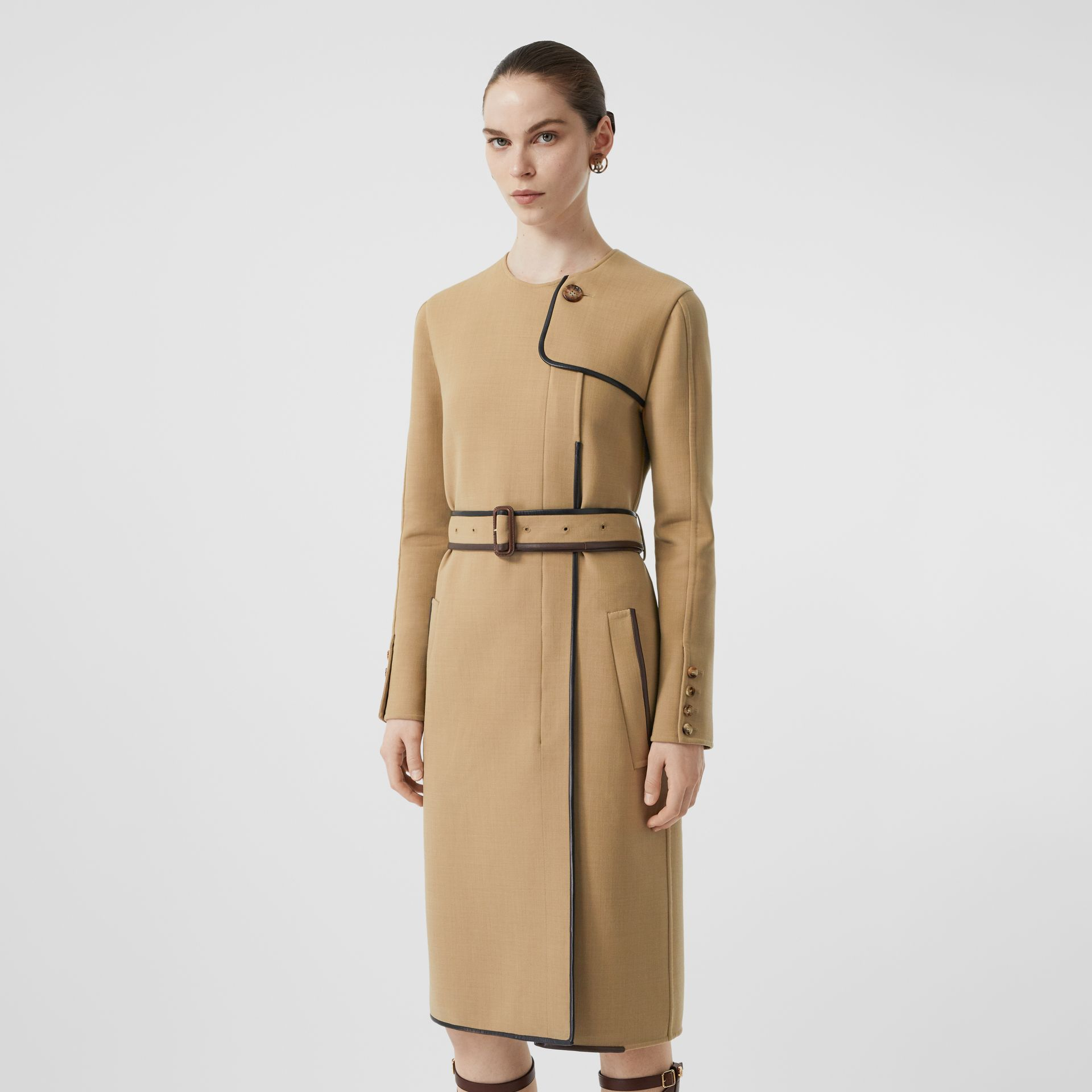 Lambskin Trim Technical Wool Belted Dress in Honey - Women | Burberry Australia - gallery image 5