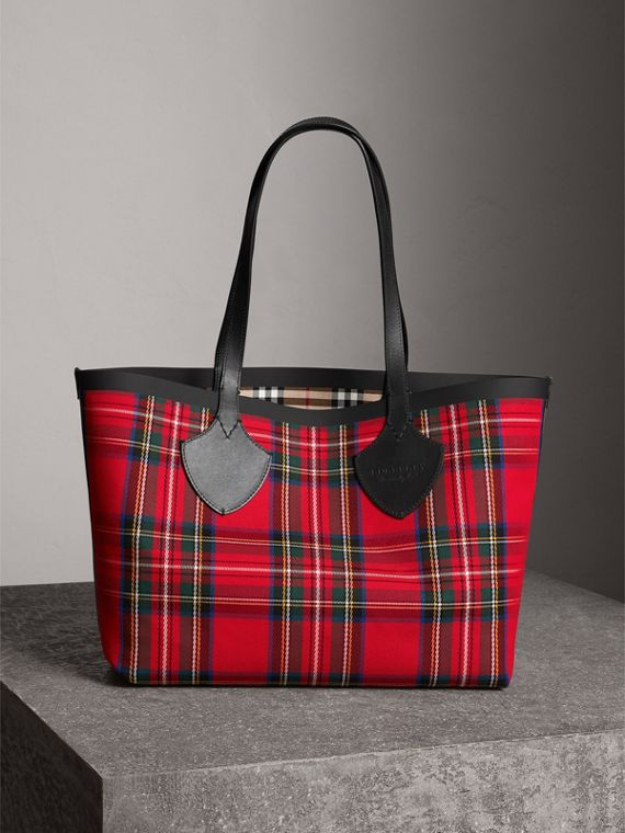 The Medium Giant Tote mit Vintage Check-Muster (Antikgelb/hellrot)
