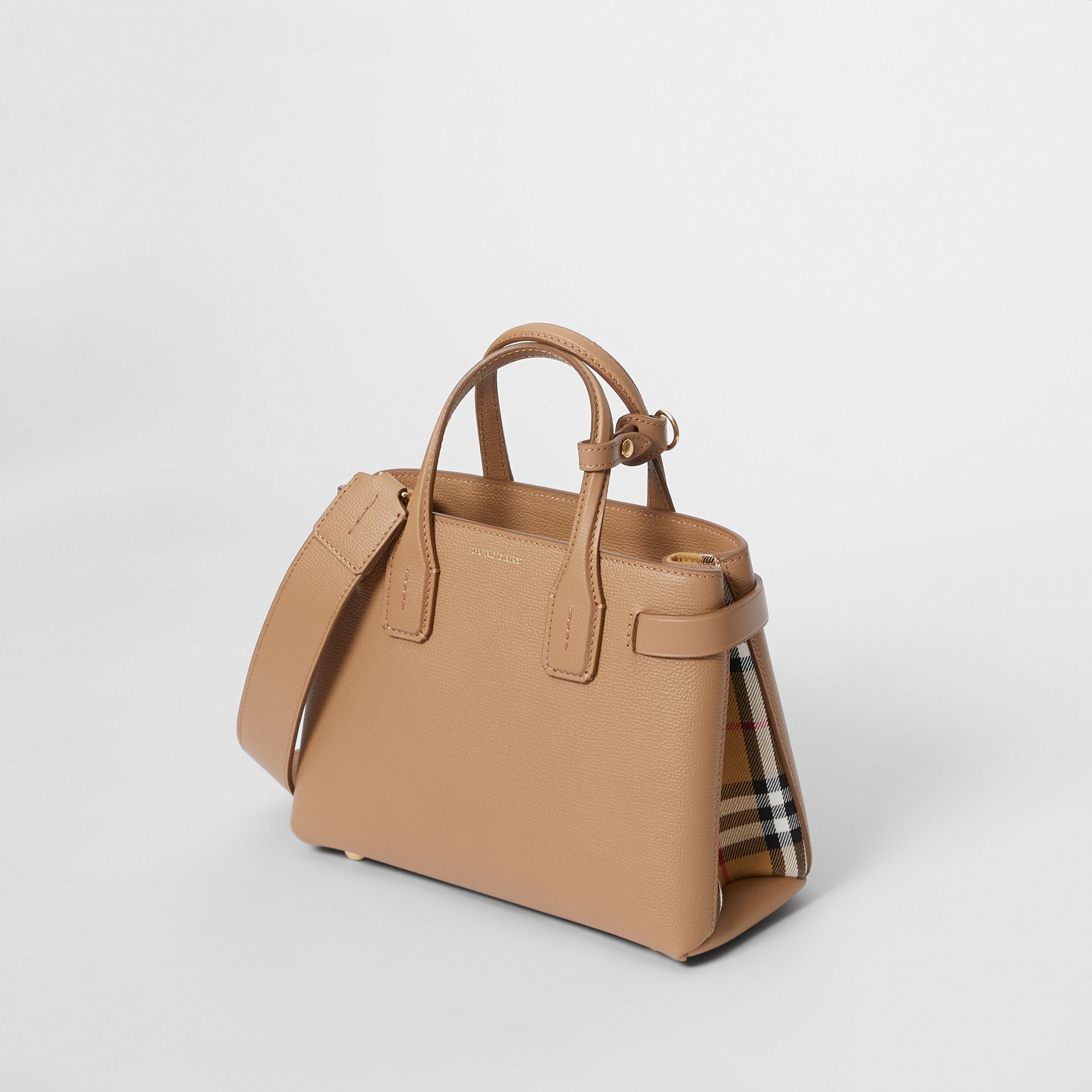 The Small Banner in Leather and Vintage Check in Camel - Women | Burberry - gallery image 3