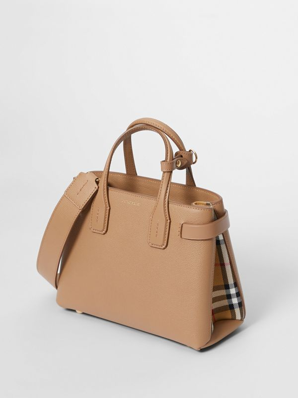 The Small Banner in Leather and Vintage Check in Camel - Women | Burberry United States - cell image 3