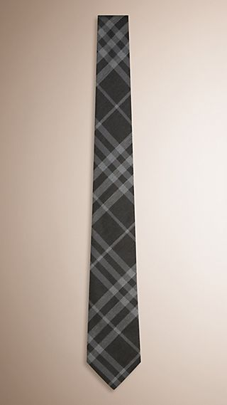 Modern Cut Check Silk Cotton Tie