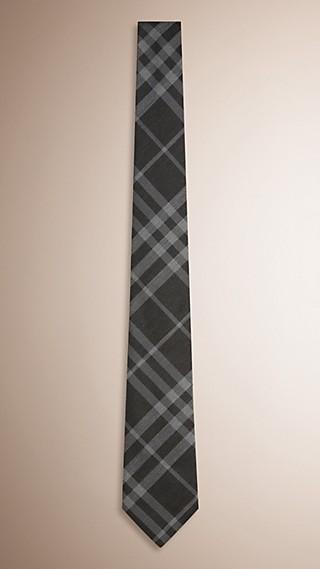 Cravate moderne en soie et coton à motif check