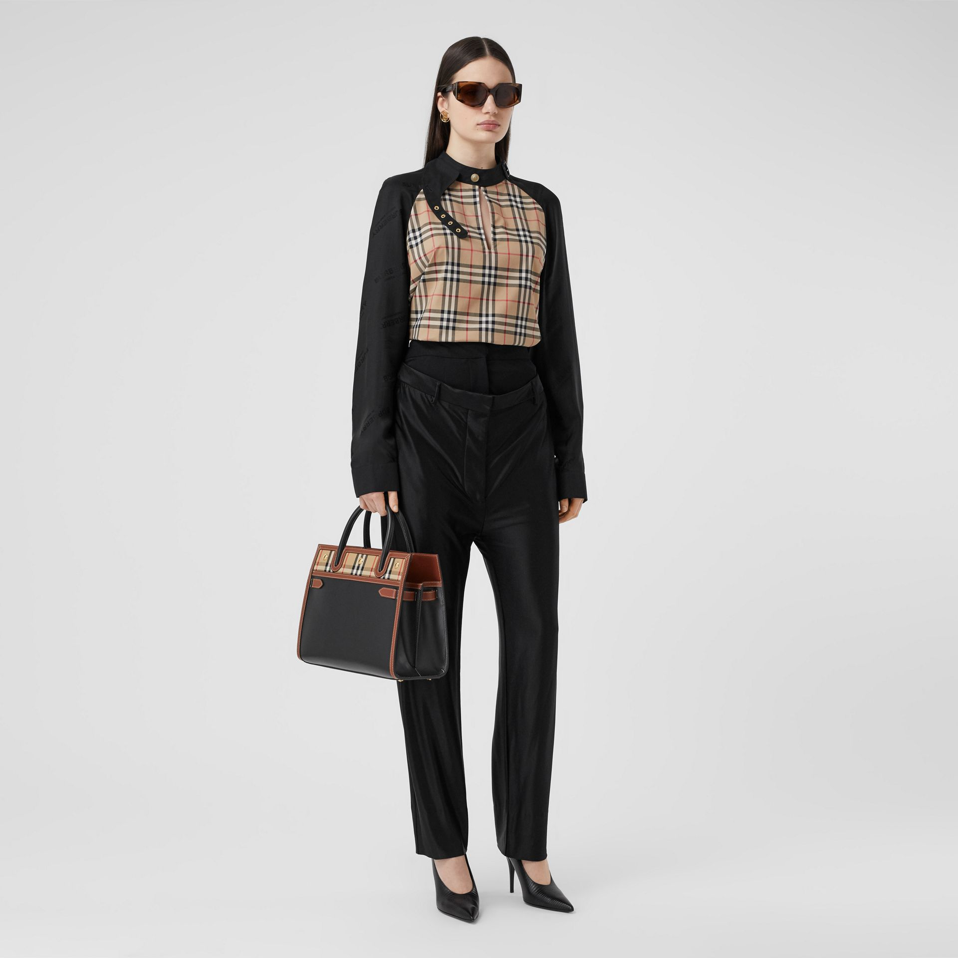 Small Leather and Vintage Check Two-handle Title Bag in Black - Women | Burberry - gallery image 5