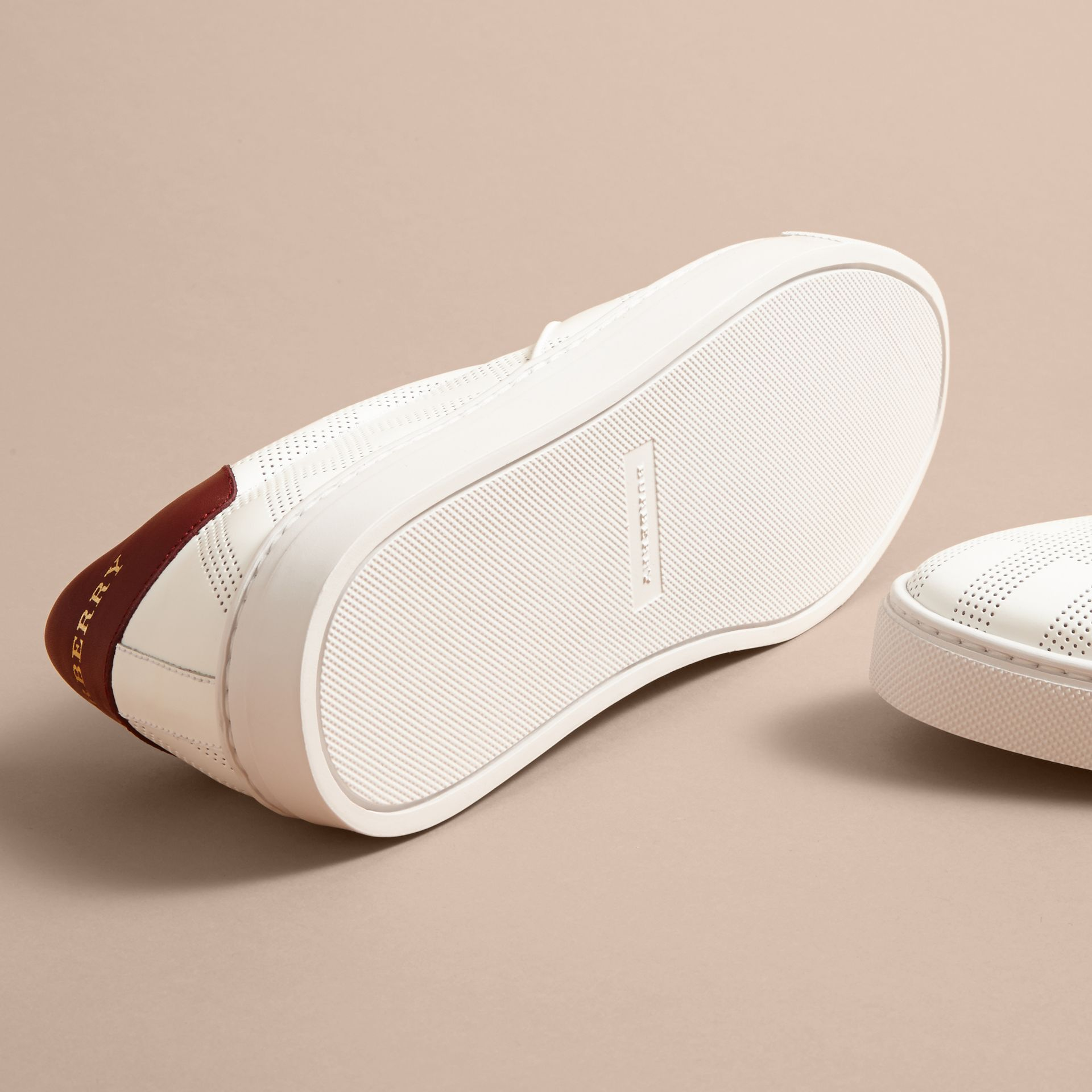 Perforated Check Leather Slip-on Trainers in Optic White/deep Claret Melange - Men | Burberry - gallery image 5