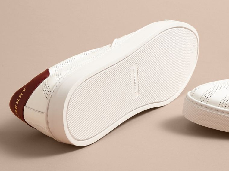 Perforated Check Leather Slip-on Trainers in Optic White/deep Claret Melange - Men | Burberry - cell image 4