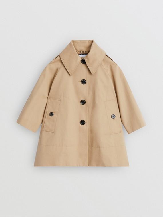Detachable Hood Showerproof Cotton Swing Coat in Honey