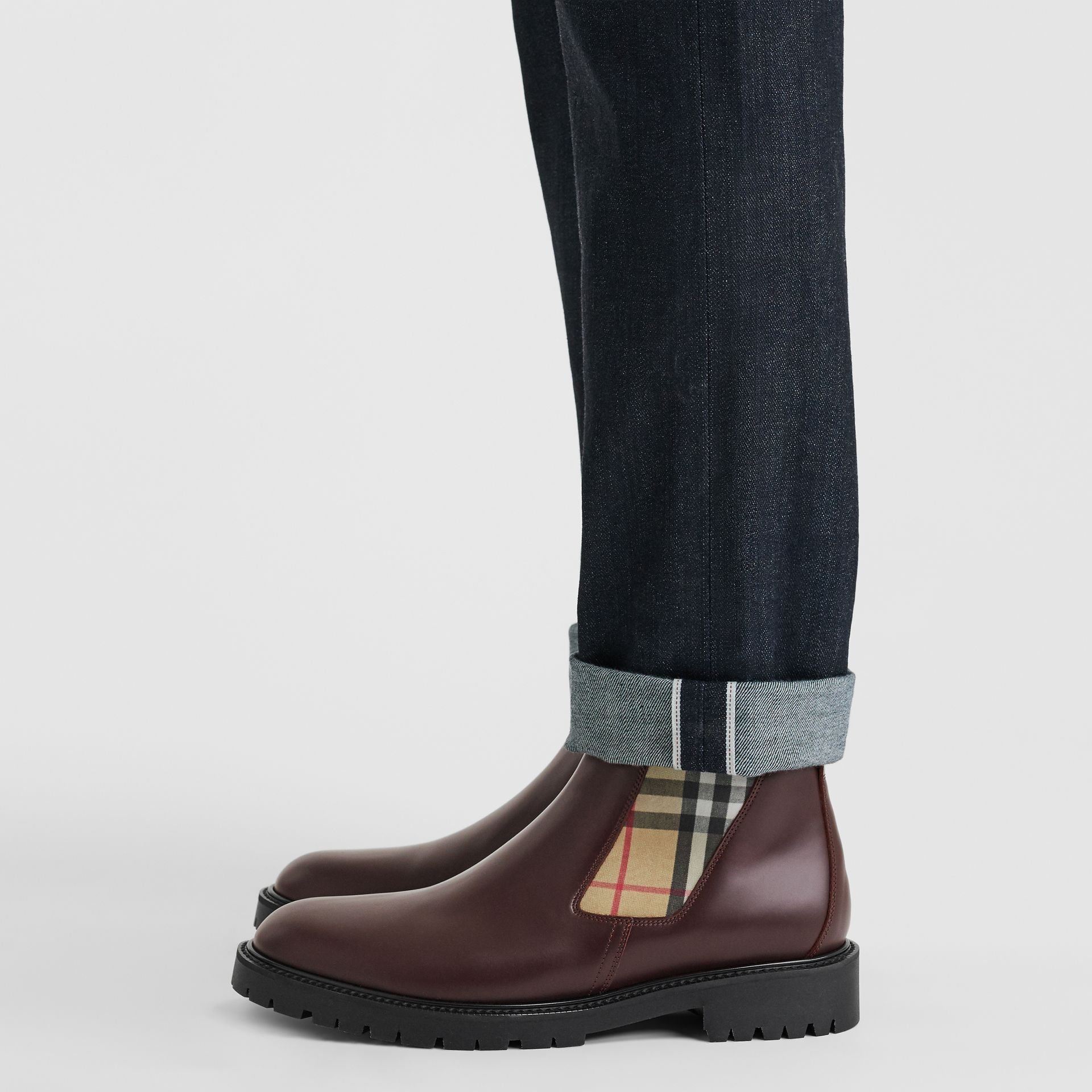 Vintage Check Detail Leather Chelsea Boots in Oxblood - Men | Burberry Singapore - gallery image 2
