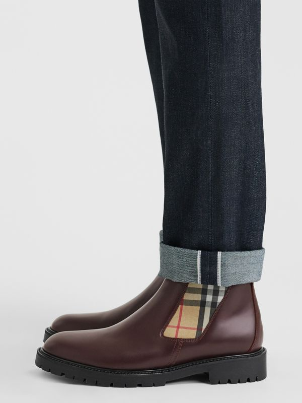 Vintage Check Detail Leather Chelsea Boots in Oxblood - Men | Burberry Singapore - cell image 2