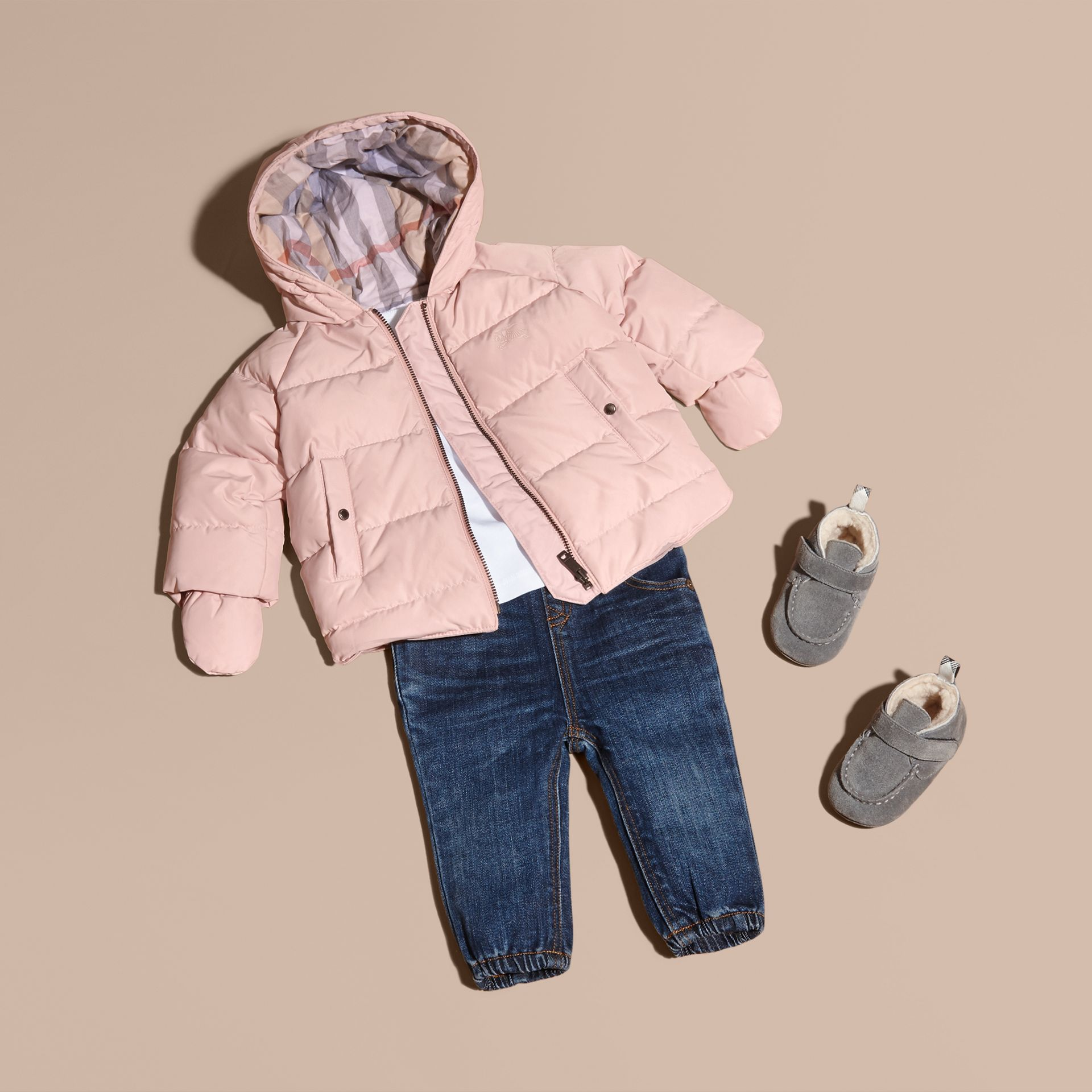 Hooded Down-filled Puffer Jacket with Mittens Powder Pink - gallery image 1