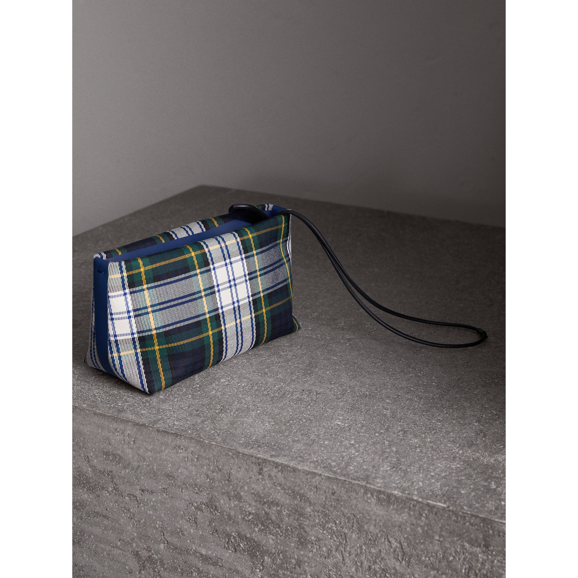 Tartan Cotton Clutch in Ink Blue/bright Yellow | Burberry Australia - gallery image 4