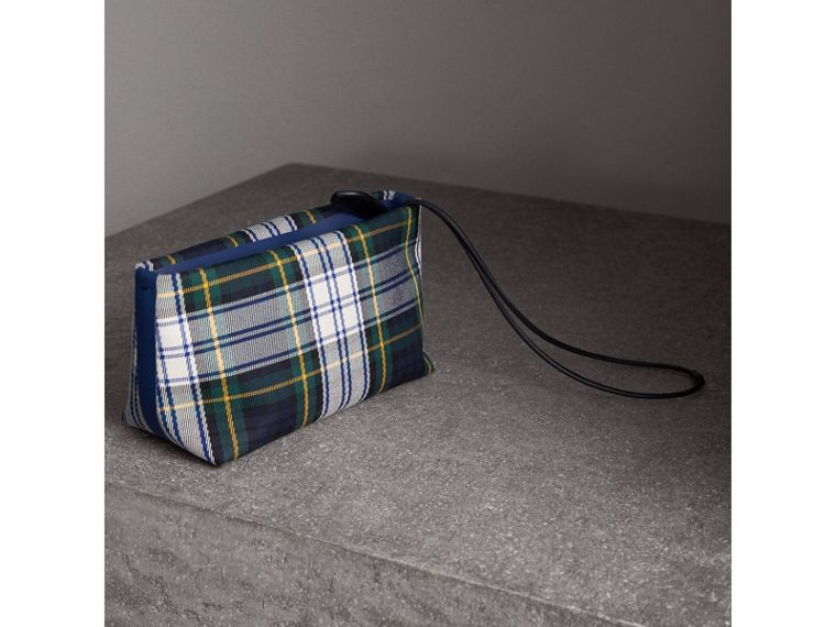 Tartan Cotton Clutch in Ink Blue/bright Yellow | Burberry Australia - cell image 4