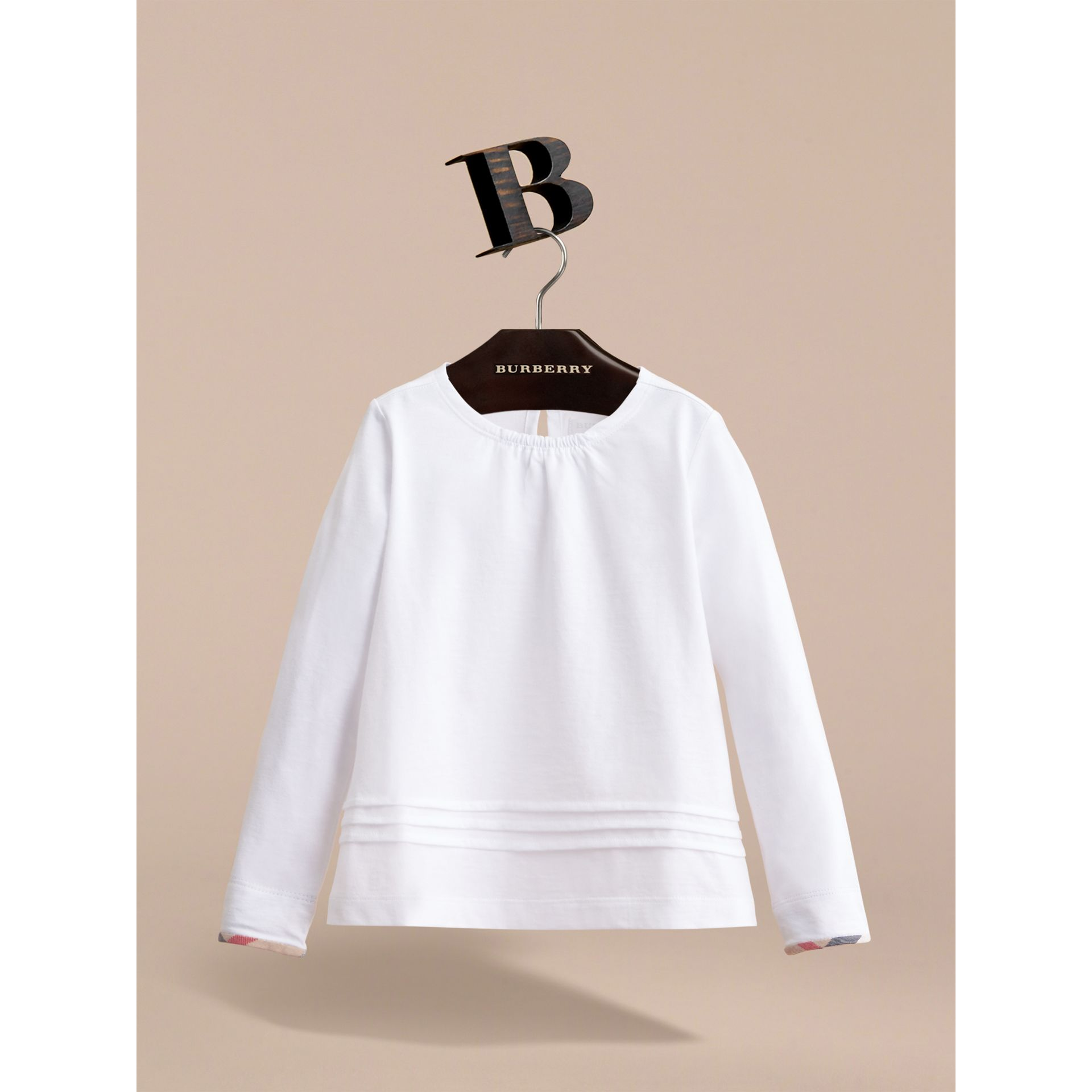 Long-sleeve Pleat and Check Detail Cotton T-shirt in White - Girl | Burberry Hong Kong - gallery image 2