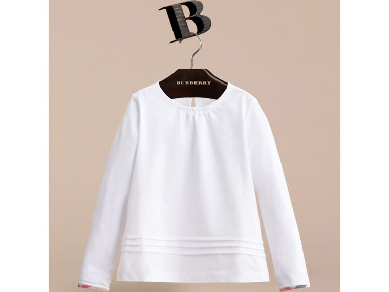 Long-sleeve Pleat and Check Detail Cotton T-shirt in White - Girl | Burberry Canada - cell image 1
