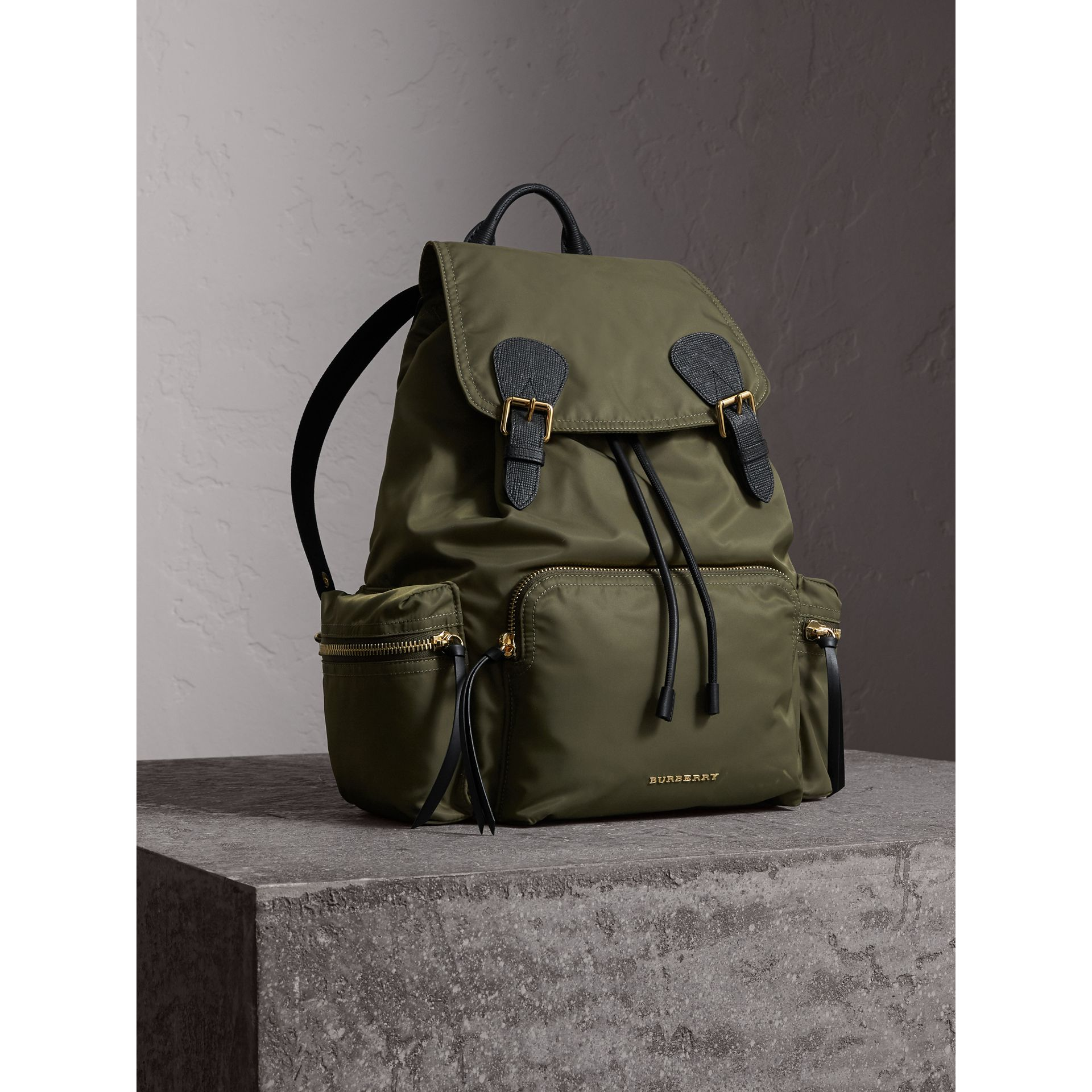 The Large Rucksack in Technical Nylon and Leather in Canvas Green - Women | Burberry - gallery image 8