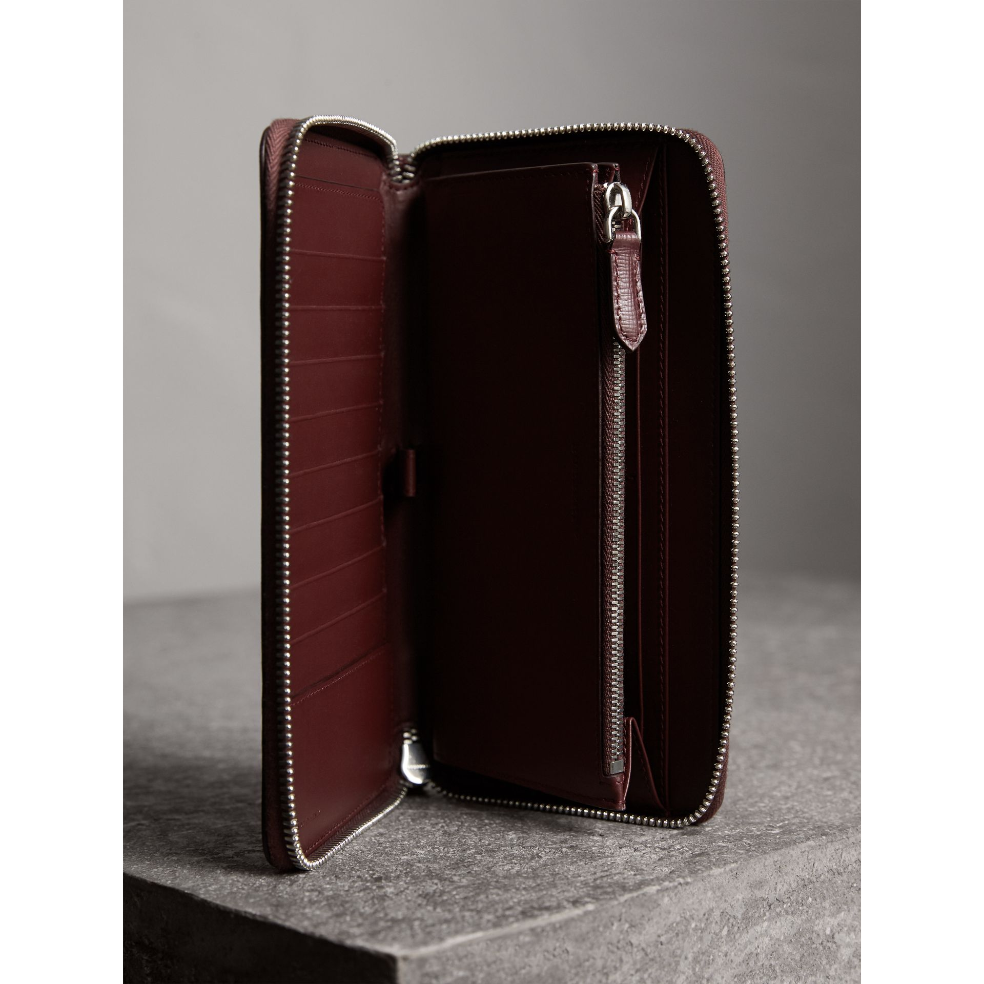 London Leather Ziparound Wallet in Burgundy Red | Burberry - gallery image 3