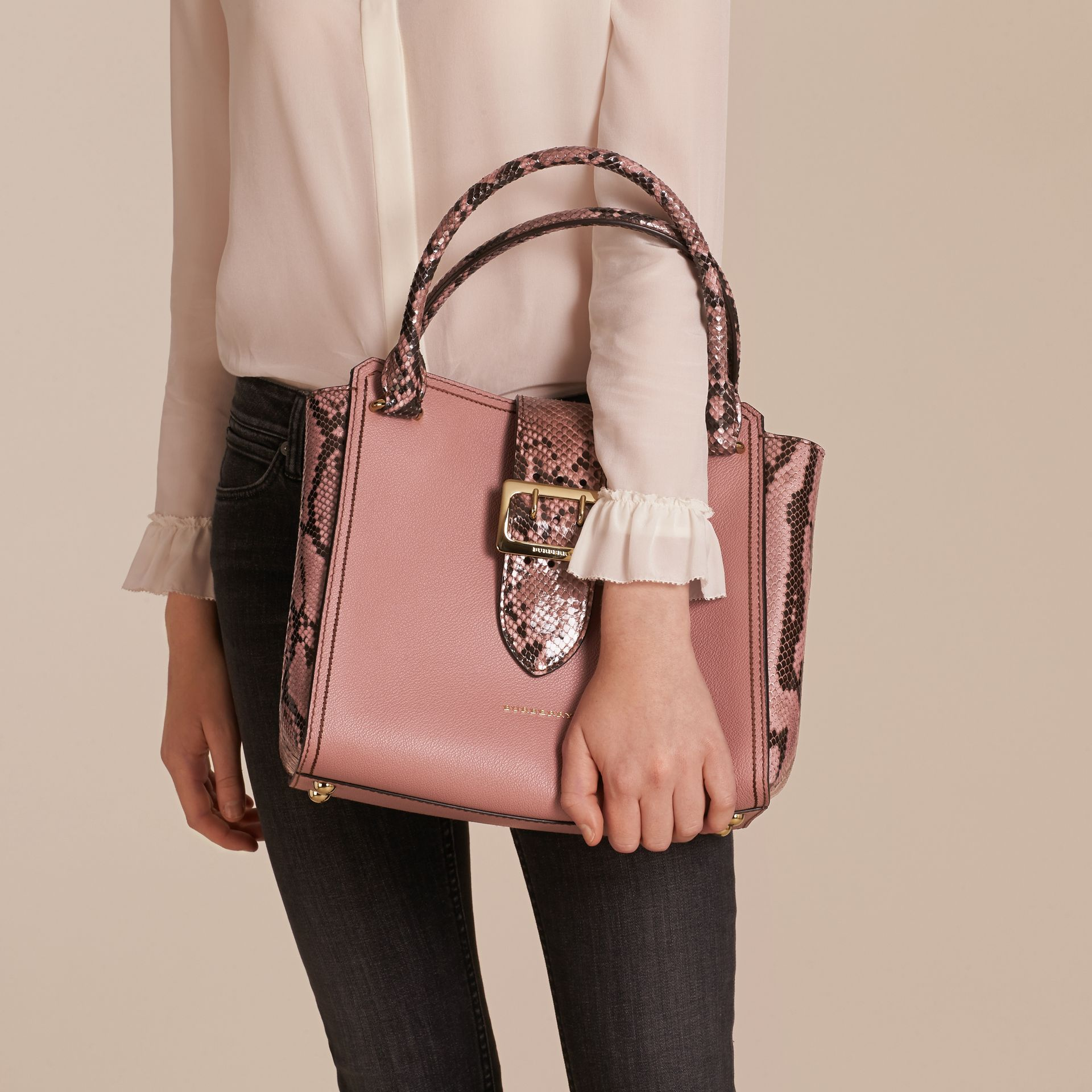 Dusty pink The Medium Buckle Tote in Grainy Leather and Python - gallery image 3