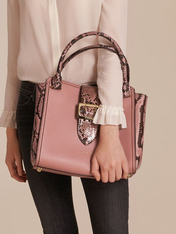 Dusty pink The Medium Buckle Tote in Grainy Leather and Python - cell image 2