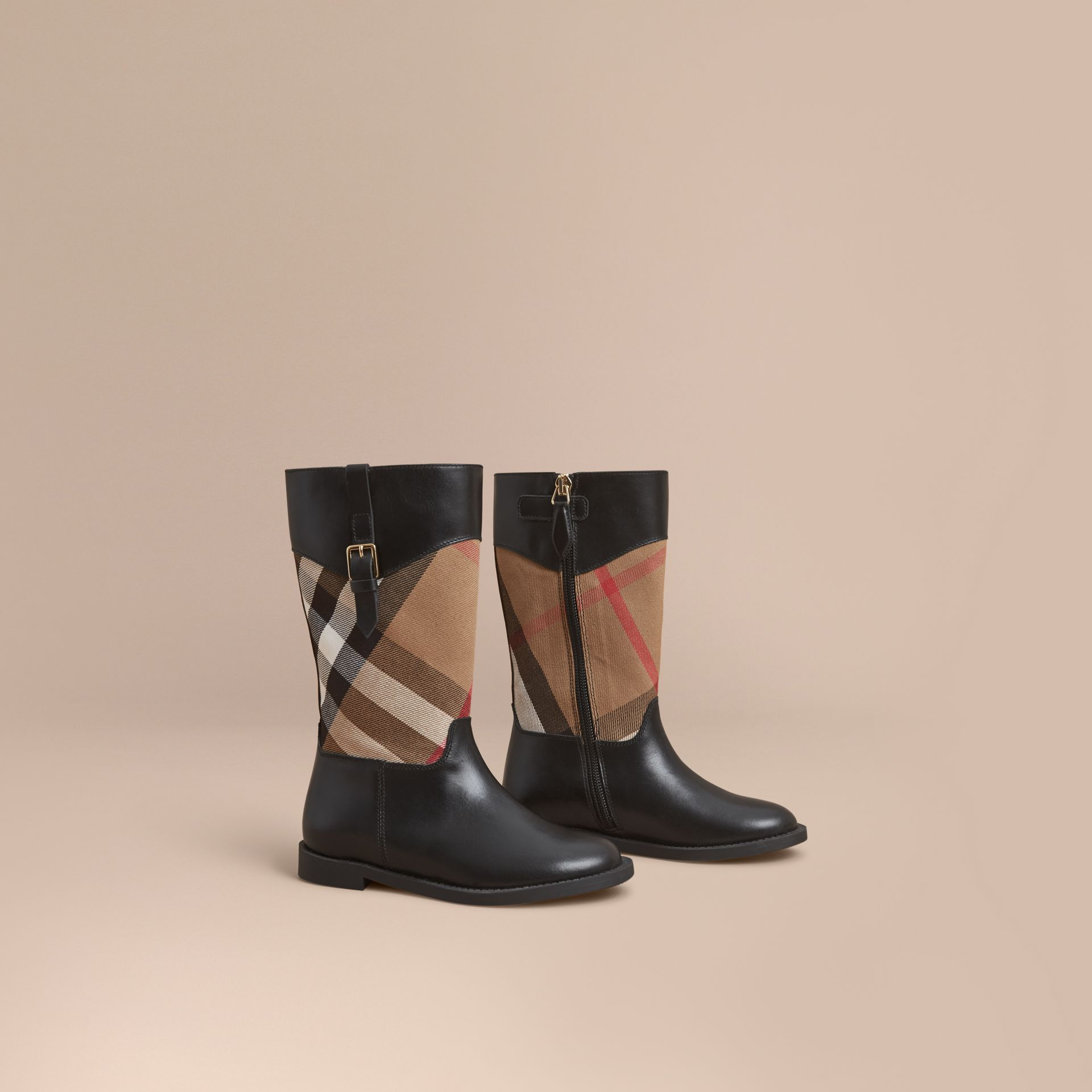 House Check and Leather Boots in Hc / Black | Burberry - gallery image 1