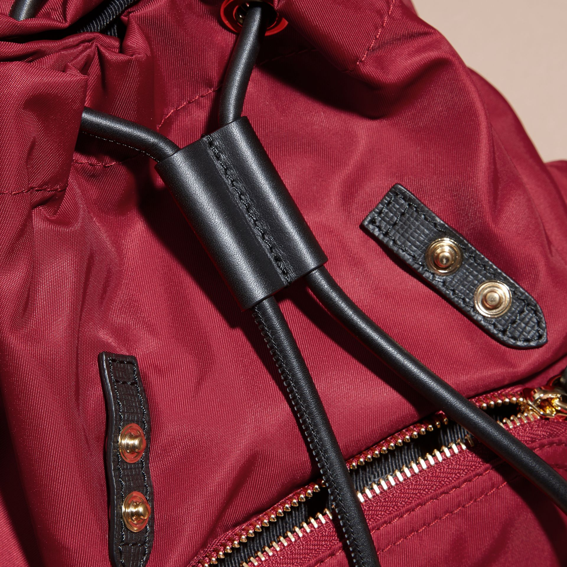 The Small Rucksack in Technical Nylon and Leather in Parade Red - Women | Burberry - gallery image 5