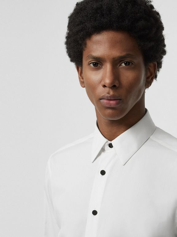 Classic Fit Cotton Poplin Dress Shirt in White - Men | Burberry United Kingdom - cell image 1