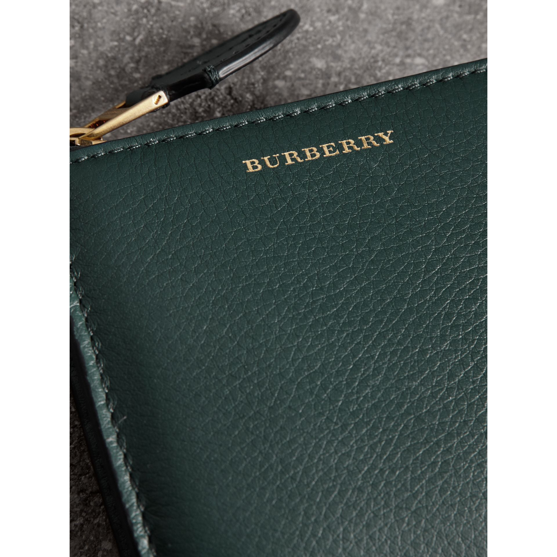 Grainy Leather Square Ziparound Wallet in Dark Cyan - Women | Burberry Singapore - gallery image 1