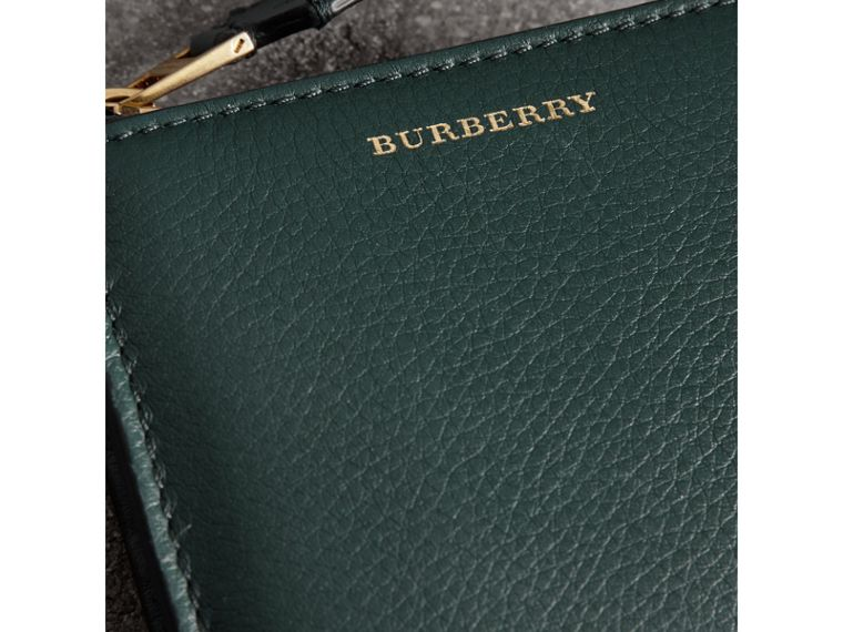 Grainy Leather Square Ziparound Wallet in Dark Cyan - Women | Burberry Hong Kong - cell image 1