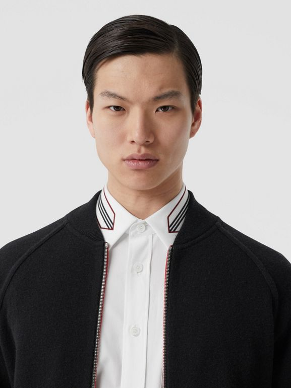 Double-faced Wool Cashmere Blend Bomber Jacket in Black | Burberry - cell image 1