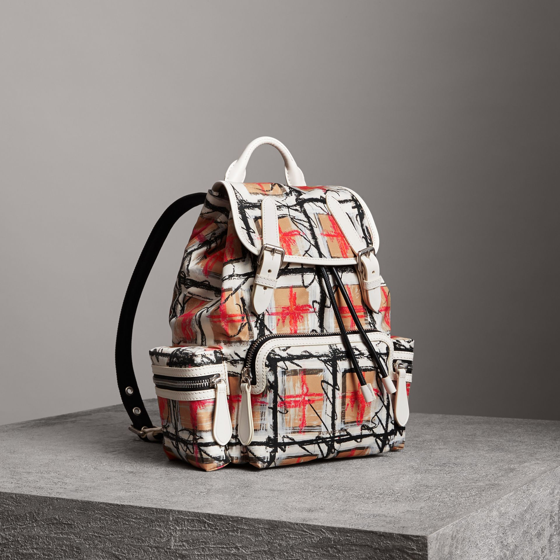 The Medium Rucksack in Scribble Vintage Check in Chalk White - Women | Burberry United Kingdom - gallery image 0