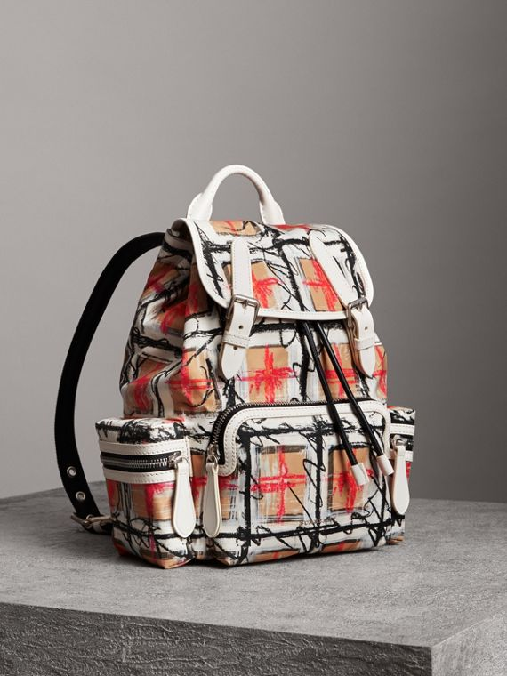 The Medium Rucksack in Scribble Vintage Check in Chalk White