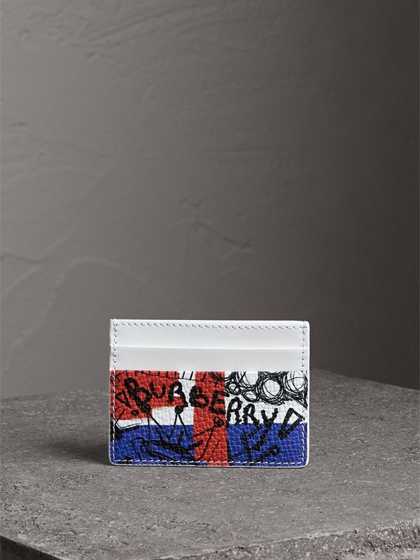 Doodle Print Leather Card Case in Red/blue | Burberry United Kingdom - cell image 3