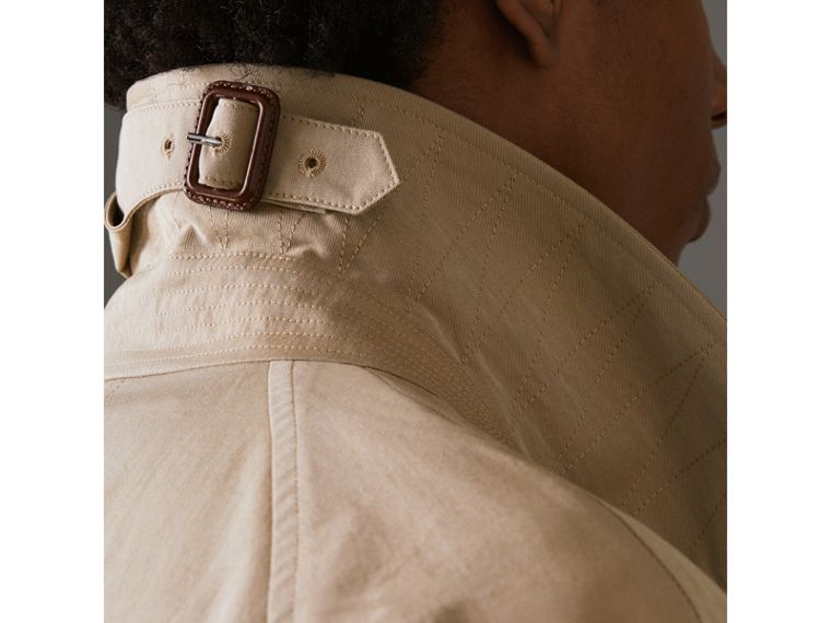 Archive-print-lined Tropical Gabardine Car Coat in Camel - Men | Burberry - cell image 4