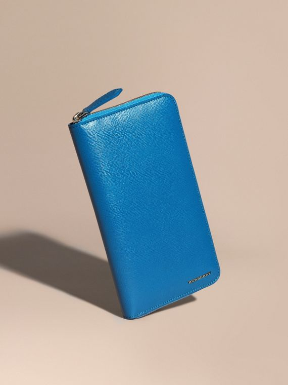 London Leather Ziparound Wallet Mineral Blue