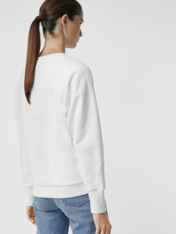 Embroidered Archive Logo Jersey Sweatshirt in White - Women | Burberry United States - cell image 2