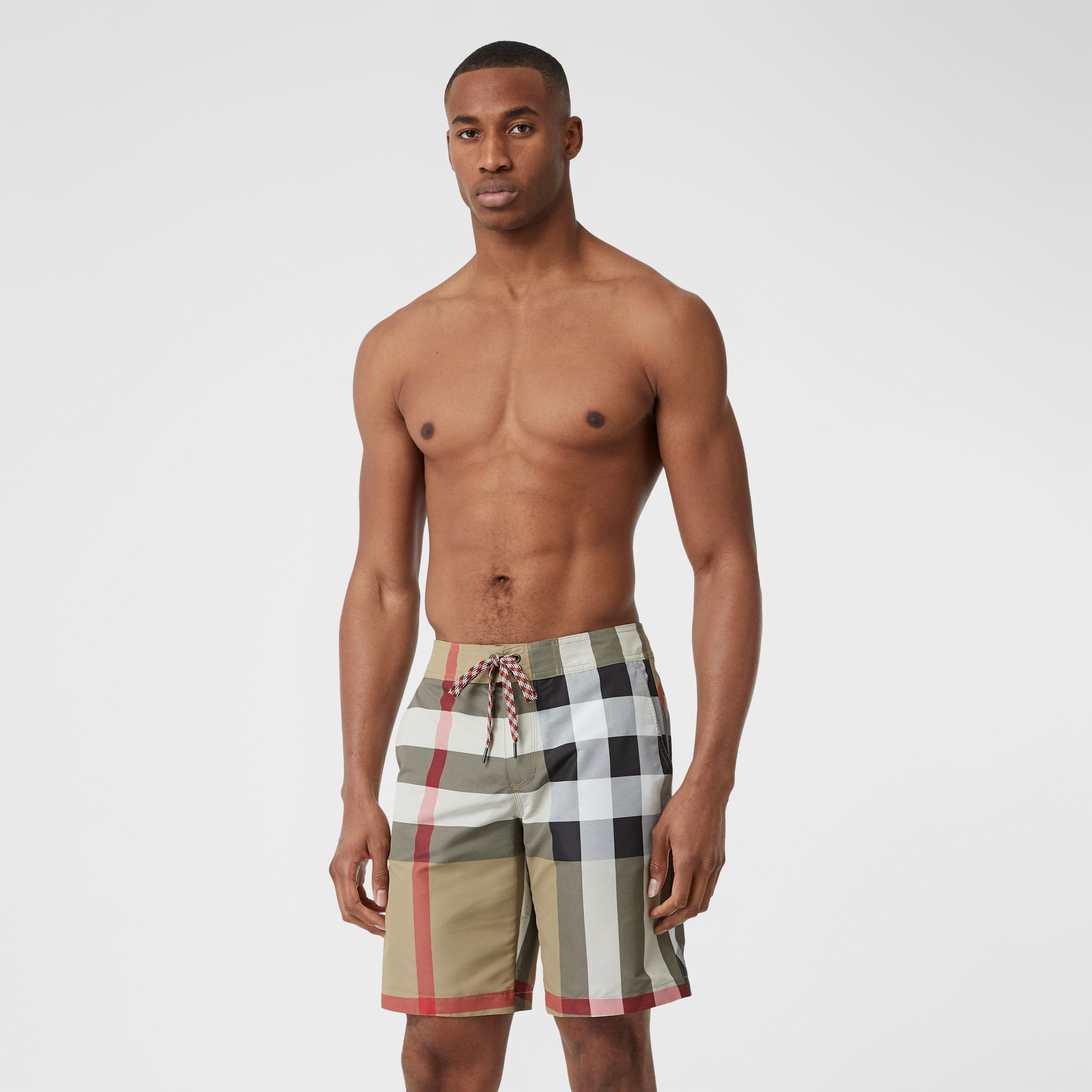 Check Swim Shorts in Archive Beige - Men | Burberry - 1