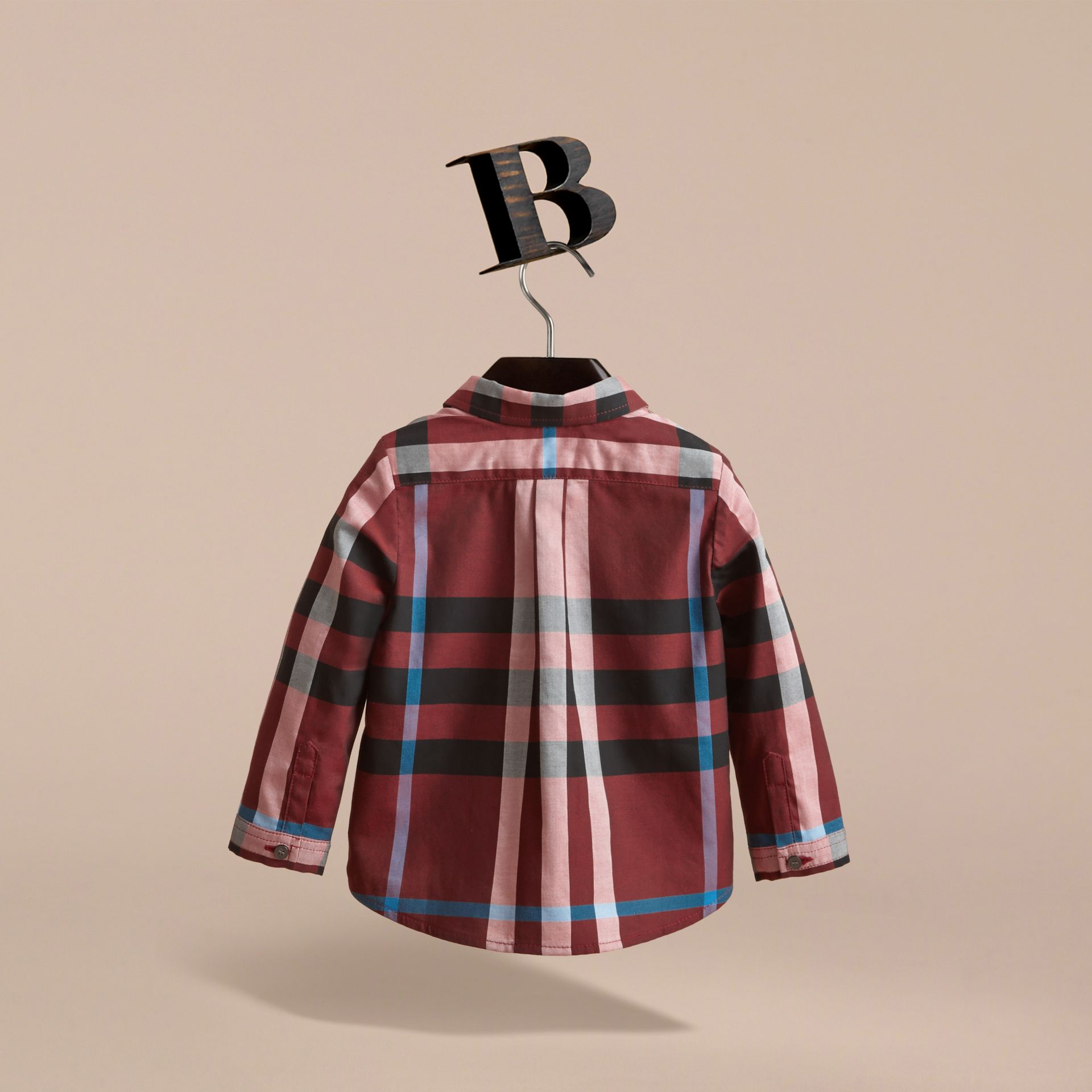 Check Cotton Shirt in Carmine Red | Burberry - gallery image 4