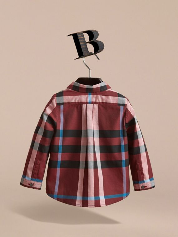 Check Cotton Shirt in Carmine Red | Burberry Canada - cell image 3