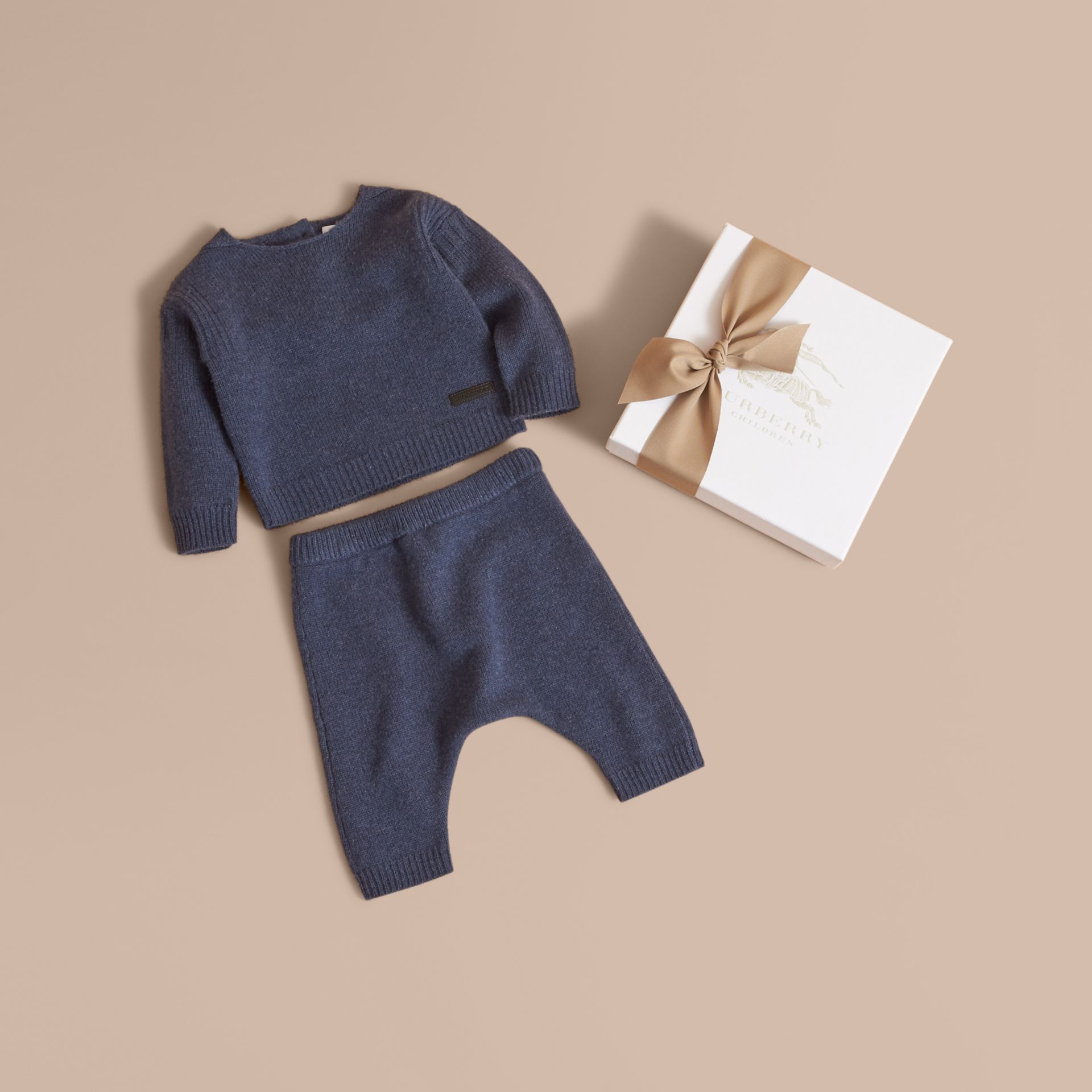Cashmere Two-piece Baby Gift Set in Mineral Blue | Burberry United States - gallery image 1