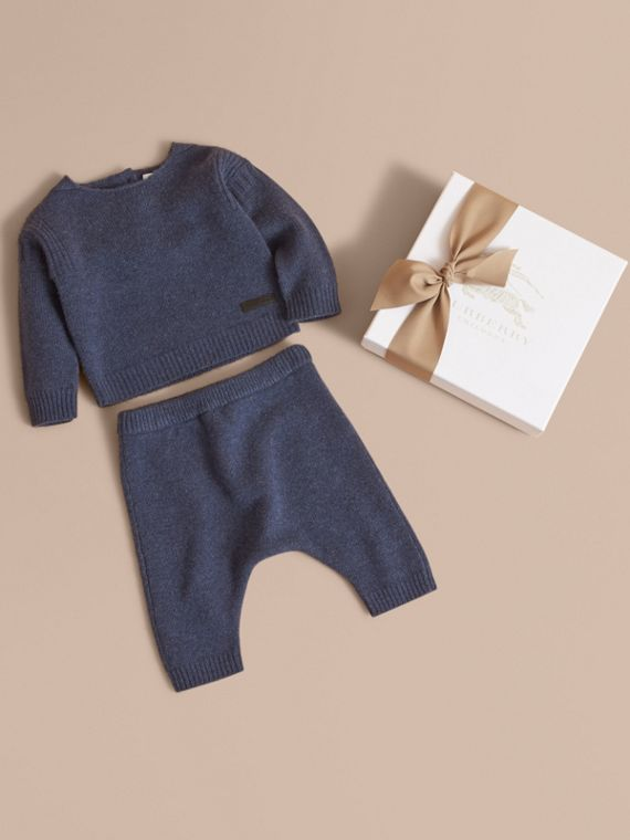 Cashmere Two-piece Baby Gift Set in Mineral Blue | Burberry Australia