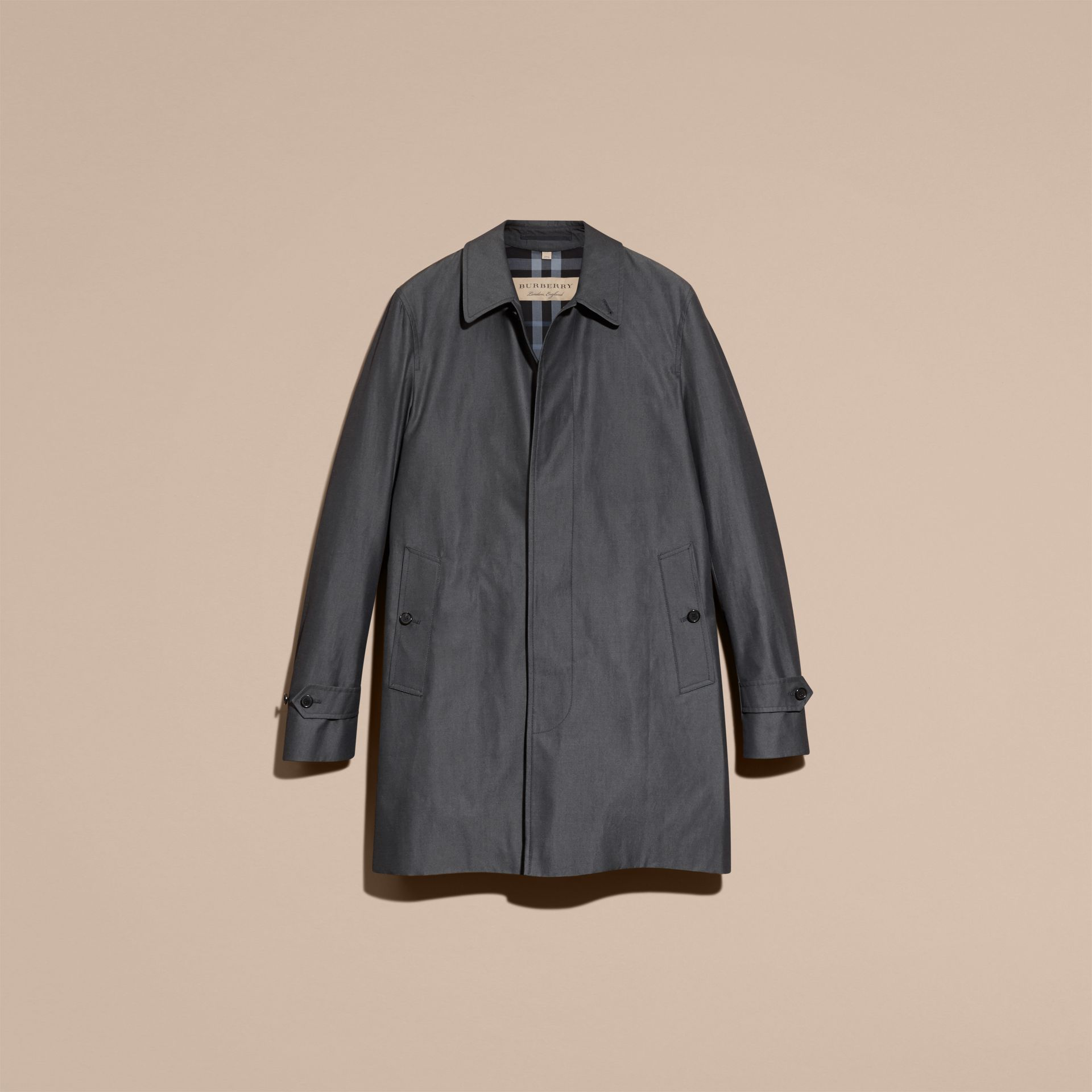 Cotton Gabardine Car Coat True Indigo - gallery image 4