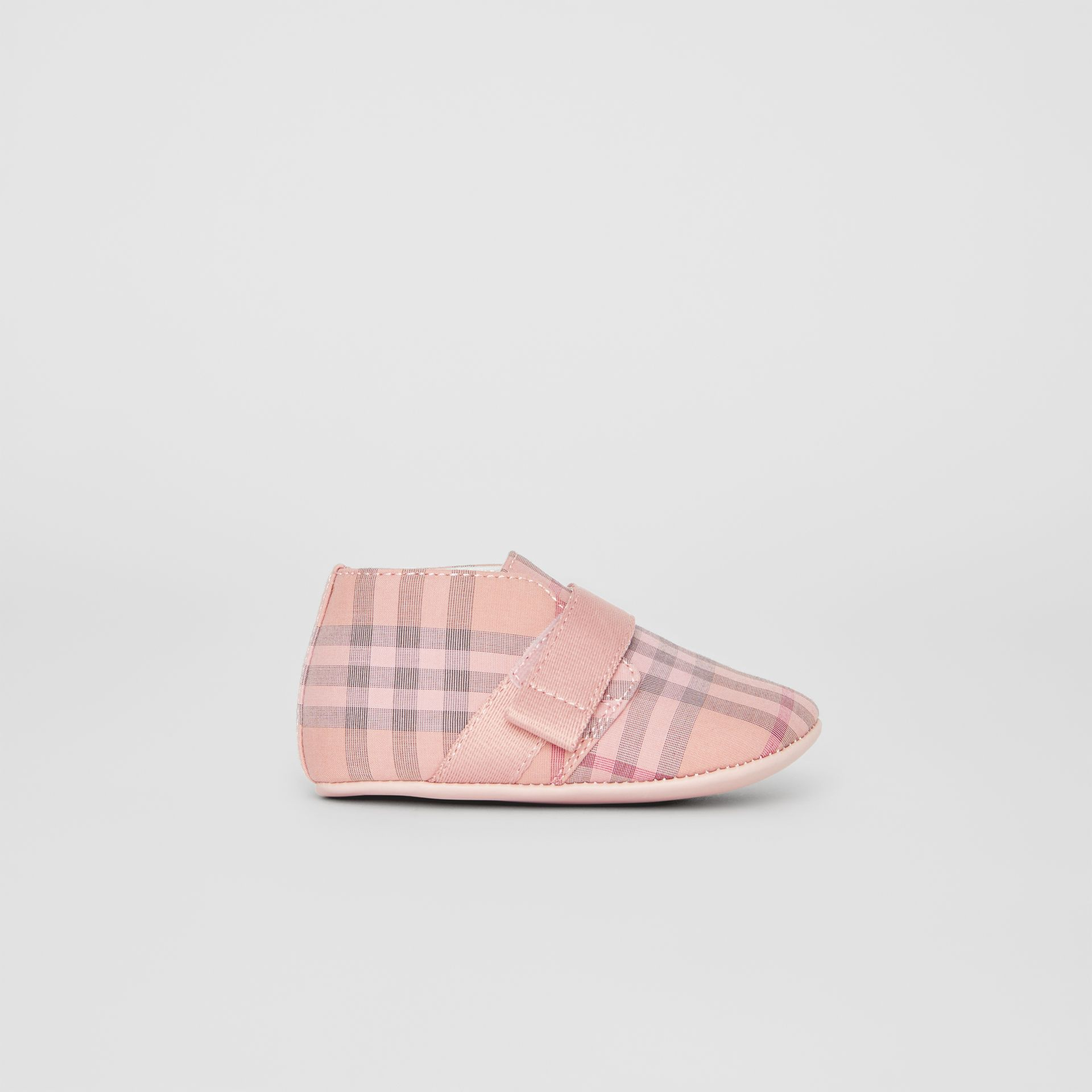 Check Cotton and Leather Shoes in Light Rose - Children | Burberry United Kingdom - gallery image 3