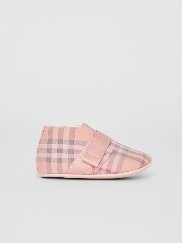 Check Cotton and Leather Shoes in Light Rose - Children | Burberry Singapore - cell image 3