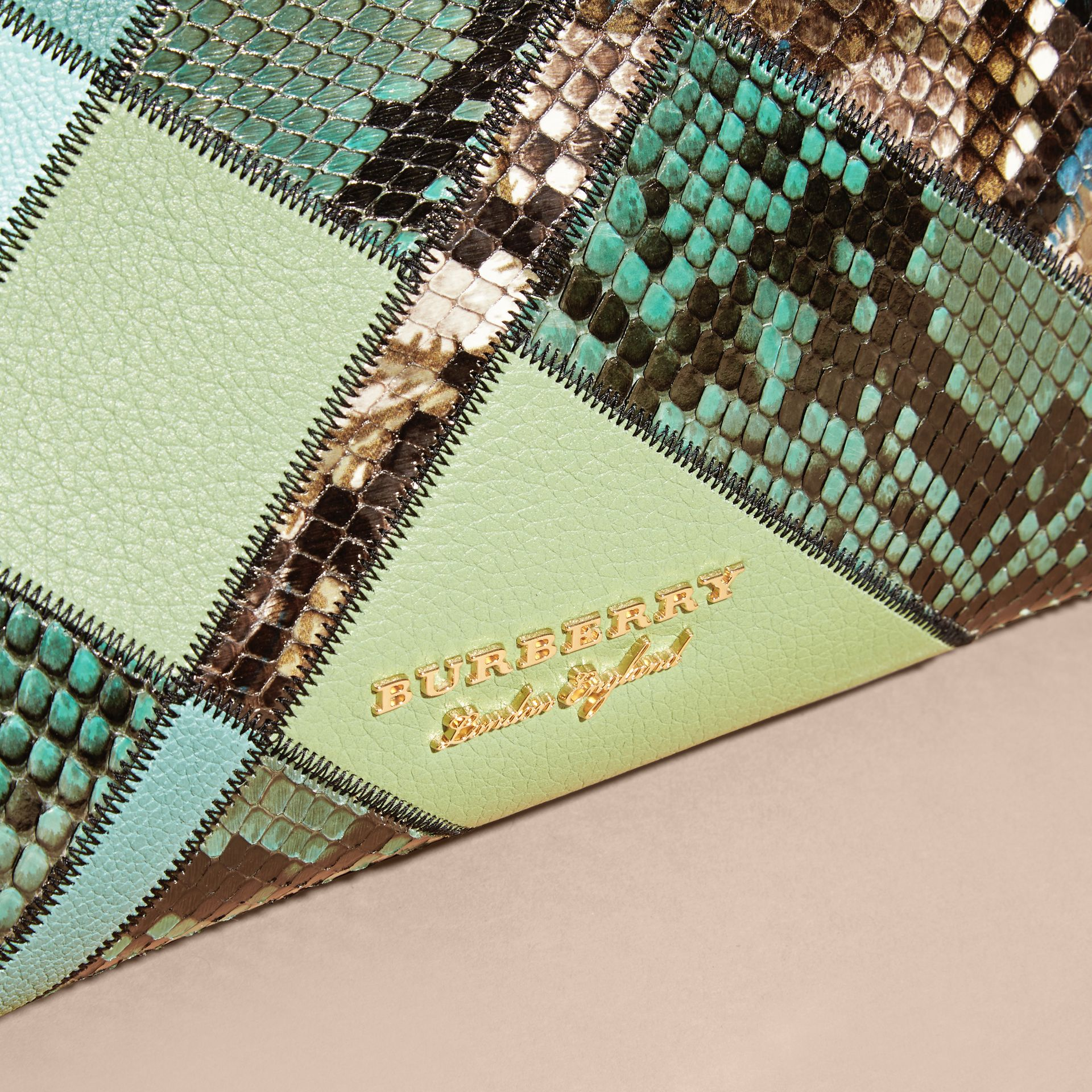 The Medium Banner in Patchwork Leather and Python Celadon Blue - gallery image 2